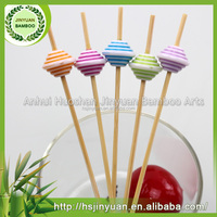 Giveaway bamboo picks for cake and coffee ,bamboo toothpick ornaments with beads