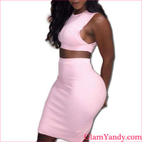 Customized Wholesale White Tank Shoulder Bodycon Cheap Sexy Knee Length Bandage Dress