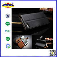 Luxury Genuine Real Leather Flip Case Wallet Cover For iPhone 4 4S
