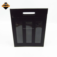High quality classic design black faux leather 3 bottle wine carrier with hollow out handle,3 windows