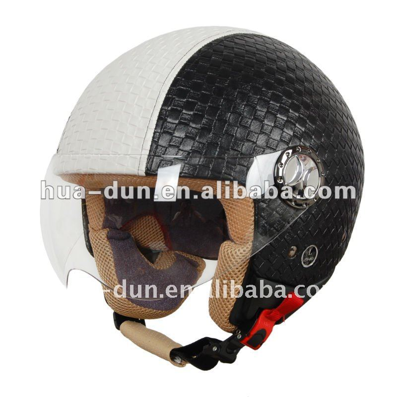 Hot vintage dot and ece approved open face leather motorcycle helmet
