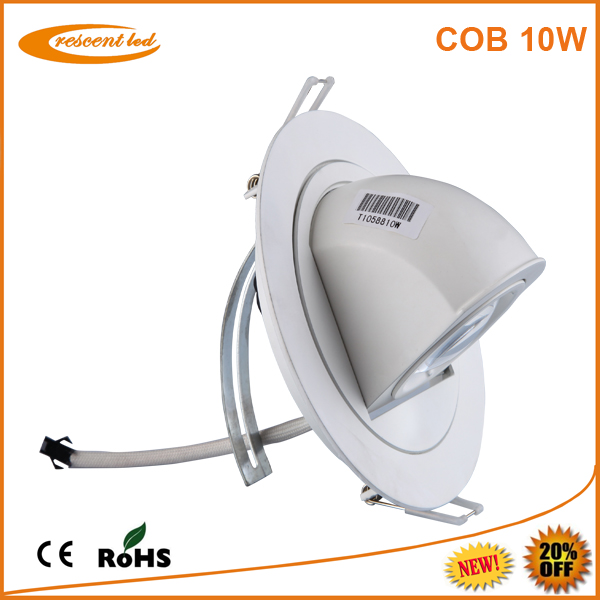 Made in China!AC85-265v,cutout 100,110mm,CRI80,white housing,gimbal 800-850lm dimmable cob 10w cob led downlight fixture