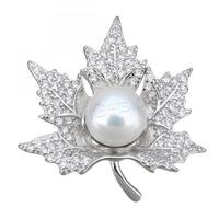 Cultured Pearl Sterling Silver pendants 925 Freshwater Maple Leaf micro pave cubic zirconia 1286555