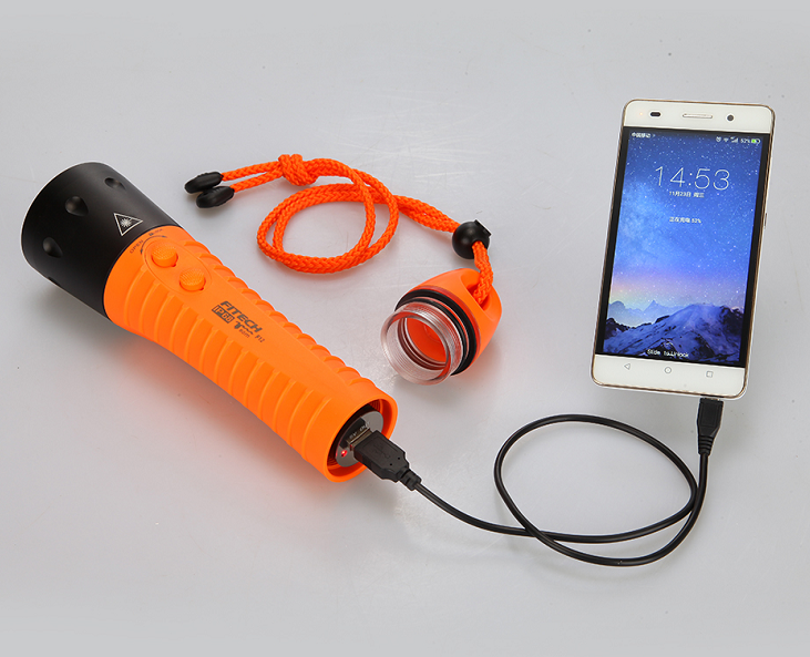 scuba underwater torch rechargeable 18650 battery 40 hours LED diving <strong>lamp</strong>