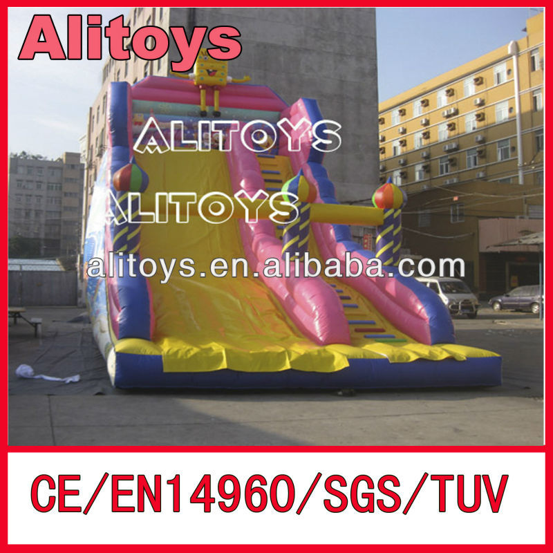 Spongebob inflatable single lane slip and slide/inflatable single lane slide