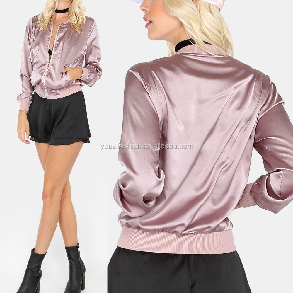 Latest spring autumn zip up satin bomber jacket fashion women coat windproof jacket for women