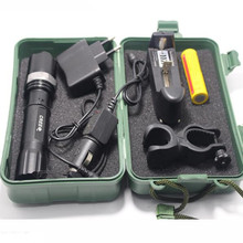 Led Flashlight Tactical Q5 2000LM Led Lamp Light 18650 Torch Rechargeable Police Flashlight/Battery/Car Charger/clip/Box