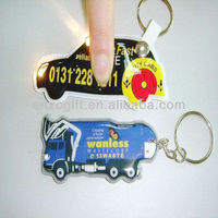 LED keychains, reflective PVC keychain with light, promotion plastic key ring