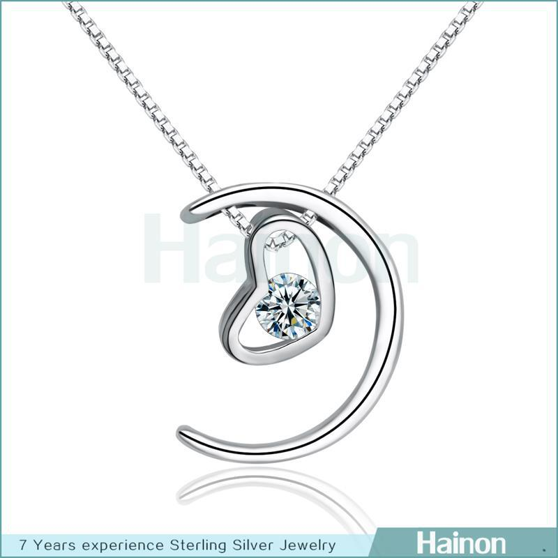 Wholesale White rhodium Plated Panda Pendant 925 sterling silver Heart moon Jewelry