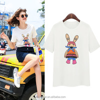 lovely candy printing fashion ladies' cotton t-shirt