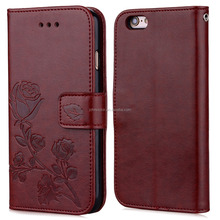 3D rose embossed for iphone 7 case; stand holder TPU soft card Slots PU leather case cover for iphone 8 7 6 plus case