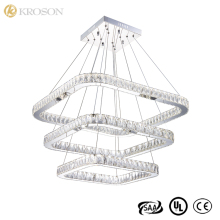 Bedroom Luster Restaurant LED Modern Stainless Steel 72W Pendant Lamp K9 LED Crystal Pendant Light