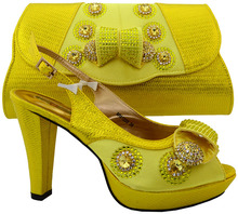 2017 Italian designer shoes and bags to match yellow,shoes and clutch bag /MM1020