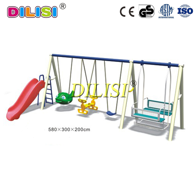 Wholesale kids various shapes seats metal swing set with slide