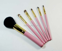synthetic hair light gold aluminium tube pink wooden handle professional makeup brush sets
