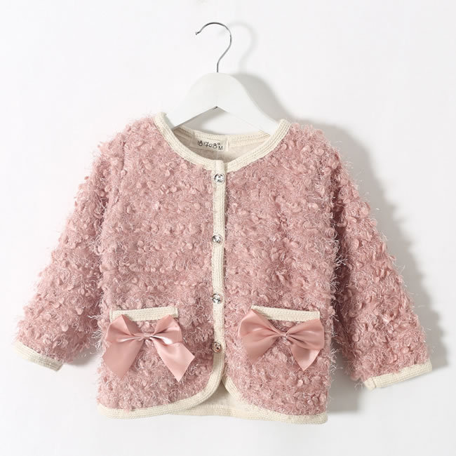 Fall Winter Coats For Girls Plush Cotton Solid Bow Princess Jackets Outwear Fashion Children Clothes Costume Manteau Fille