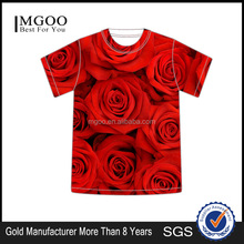 MGOO Newest Beautiful Rose Printed T-shirt For Women Fashion OEM Oversize Food Pattern Design Tee For Men 2016