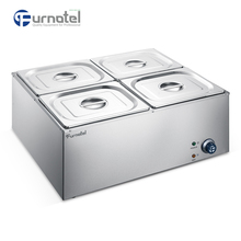 Furnotel 4 Pans Stainless Steel Electric Counter Top Food Warmer Bain Marie Counter