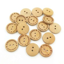 custom engraved text nature wood color shirt button with two holes