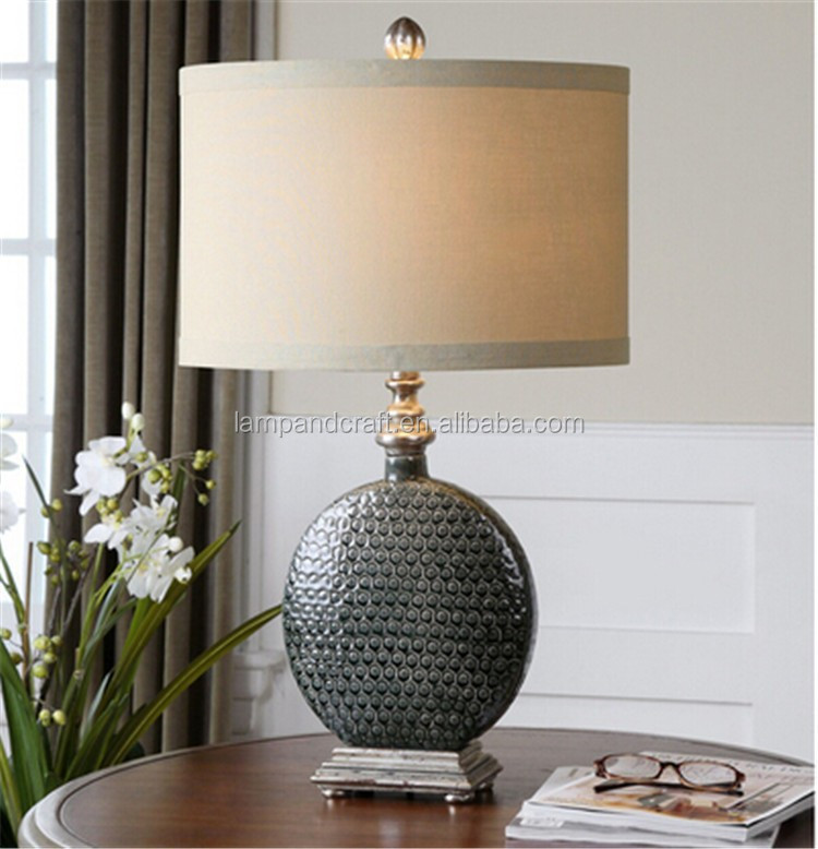 hot sell products in Alibaba Slate Grey Ceramic Table Lamp with luxury fabric shade
