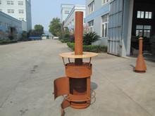 mental chiminea rust fire pit with wood table