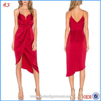 Professional Supplier New Design High Quality Fashion Women 100% Silk Dress Red Color Dress