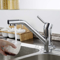 Sing hole brass 3 way kitchen faucet mixer with drinking water function
