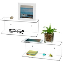 set of 2 clear Perspex Plexiglass Plexi PMMA Lucite Crystal acrylic wall mounted floating display <strong>shelves</strong>