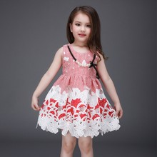Kids cotton frocks design color stripes girls summer dress elegant princess dress with beads L-115