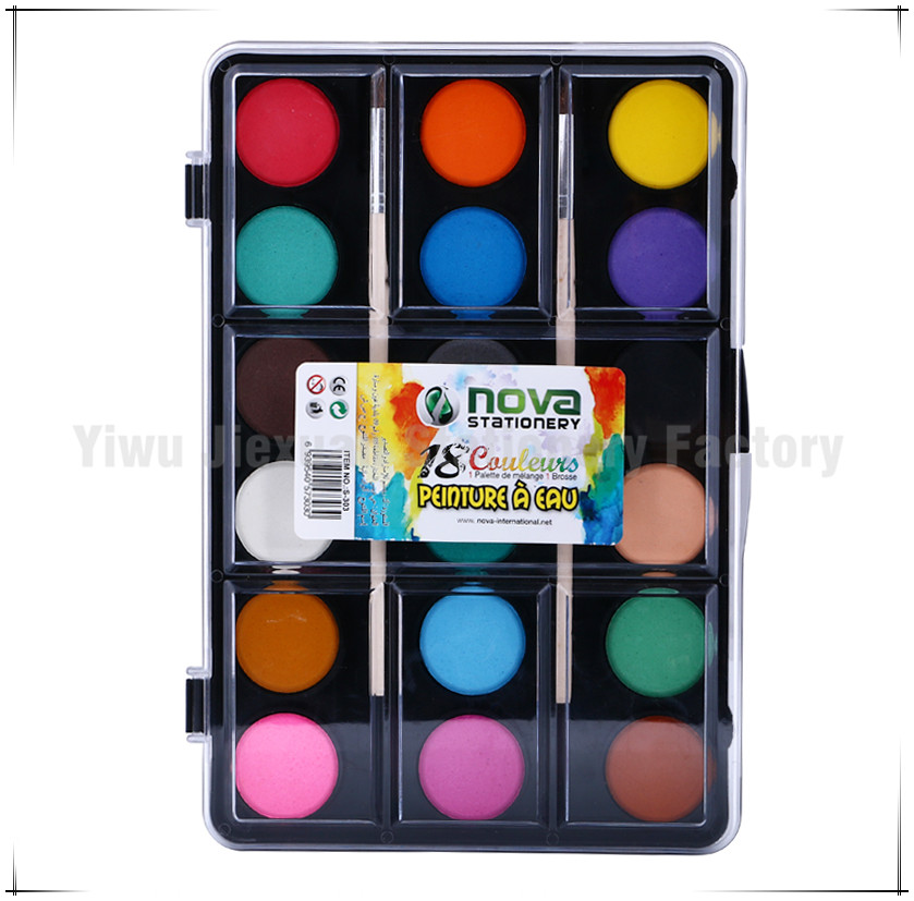 Art Set 2016 Nwe Arrival 18 Colors Watercolor <strong>Paint</strong> With Two Wood Brush For Children Non-toxic <strong>Paint</strong>