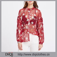 Fashion elegant designs wholesale price stylish ladies Red Floral Ruffle Collar Bishop long Sleeve Sheer Blossom chiffon Blouse