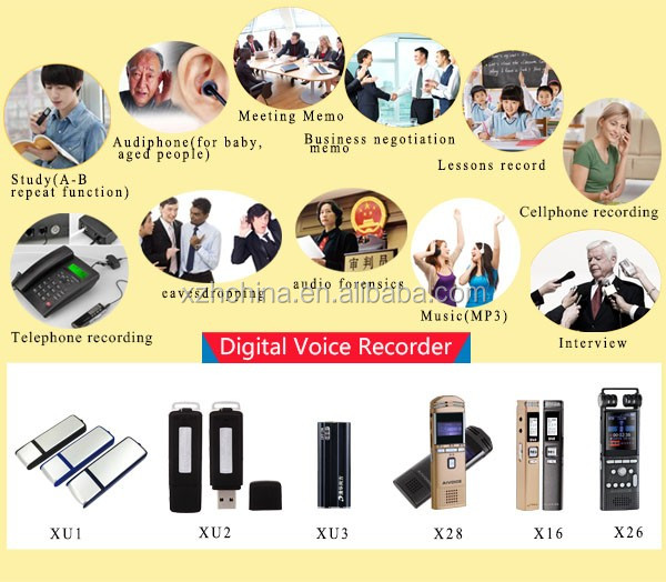 2017 hot sale 8GB Balck USB Digital Audio Voice Recorder Dictaphone MP3 Player + LCD Screen