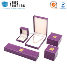 Purple plastic jewelry box metal plate top jewellery box packaging