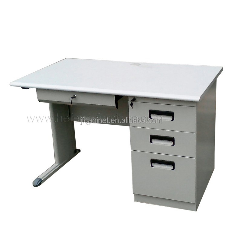 Knock Down Modern Design Steel Study Desk with Side Lockable Drawers