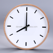 "12"" Round Decorative Wall Clock Wood Crafts Natural Color Wall Mounted Clocks"