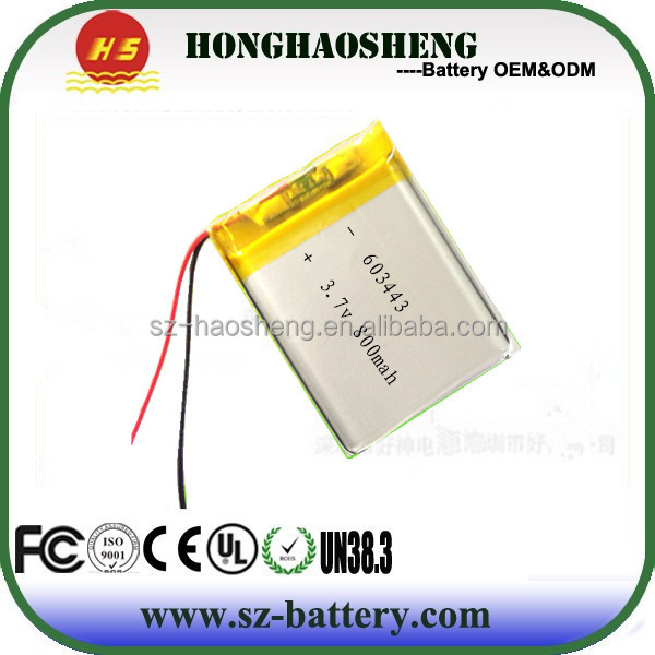 HHS high quality lithium photo battery 3.7v 800mah li-ion battery 603443 for mp3,mp4 etc