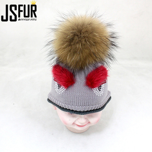 Wholesale Hot Sale Fashion Knit Baby Winter Hat With Real Fur Pom Pom