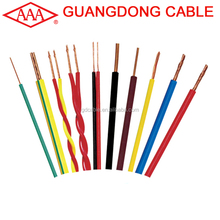 1.5 2.5 4 6 sq mm Single core flexible PVC coated copper electric cable wire price per meter