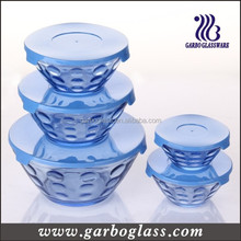 5pcs set glass bowl with lid salad glass bowl , water proof 5pcs glass salad bowl set supplier wholesaler , Glass Bowl Set
