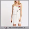 New arrivals Summer girls casual sexy white Embroidered Rose Applique Drawstring Spaghetti Strap Cami Sleeveless Dresses