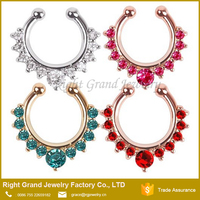 Silver Gold Plated Clip Multi-CZ Gems Fake Septum Clicker Nose Ring