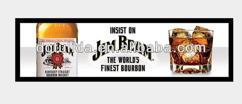 Jim Beam Full Color Printing Nitrile Non-woven Fabric Bar Top Counter Mat