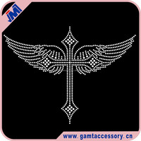 Cross and Wings Custom Rhinestone Transfer For T-Shirt Wholesale, Iron On, Hot Fix, Bling