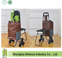 6 Wheels 600D Polyester Foldable Shopping Trolley Bag with Seat