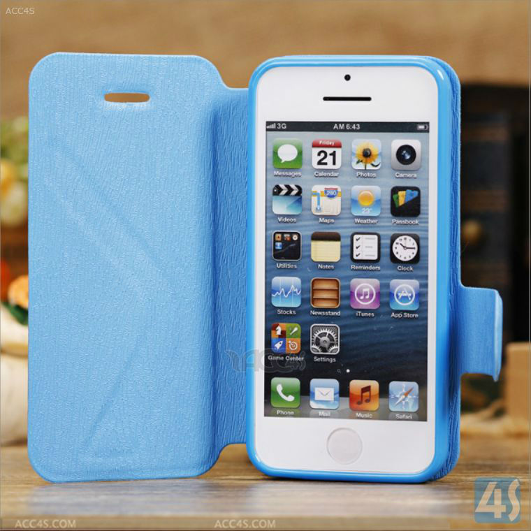 New Fresh Design Wood Grain Leather Stand Case Cover for iPhone 5C P-IPH5CCASE017