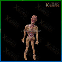 X-MERRY Dead Body Fake Out Bones Horror Zombie Halloween prop Life Size Haunted House Decor Latex Prop Set The Scary Environment