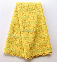 Cheap wholesale yellow flowers design beaded bridal lace / embroidery french lace / hand made indian french lace with beads