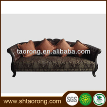 Antique luxury wood carved Italian leather sofa for sale