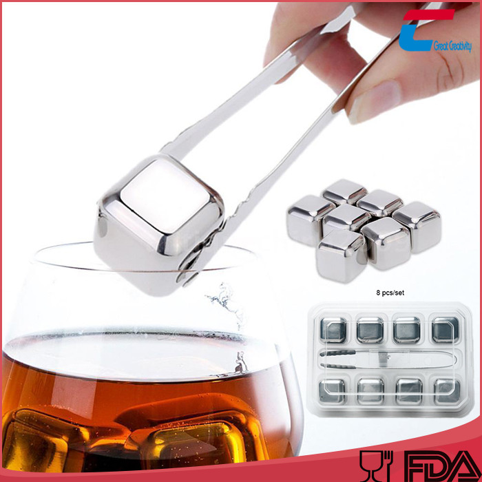 Eco-Friendly Feature Whisky ice cube stainless steel, Whisky chilling stones ,Whisky chilling rocks