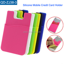 Custom Logo 3M Sticker Silicone Mobile Phone Card Holder Adhesive Cell Phone Credit Card Holder For Phones